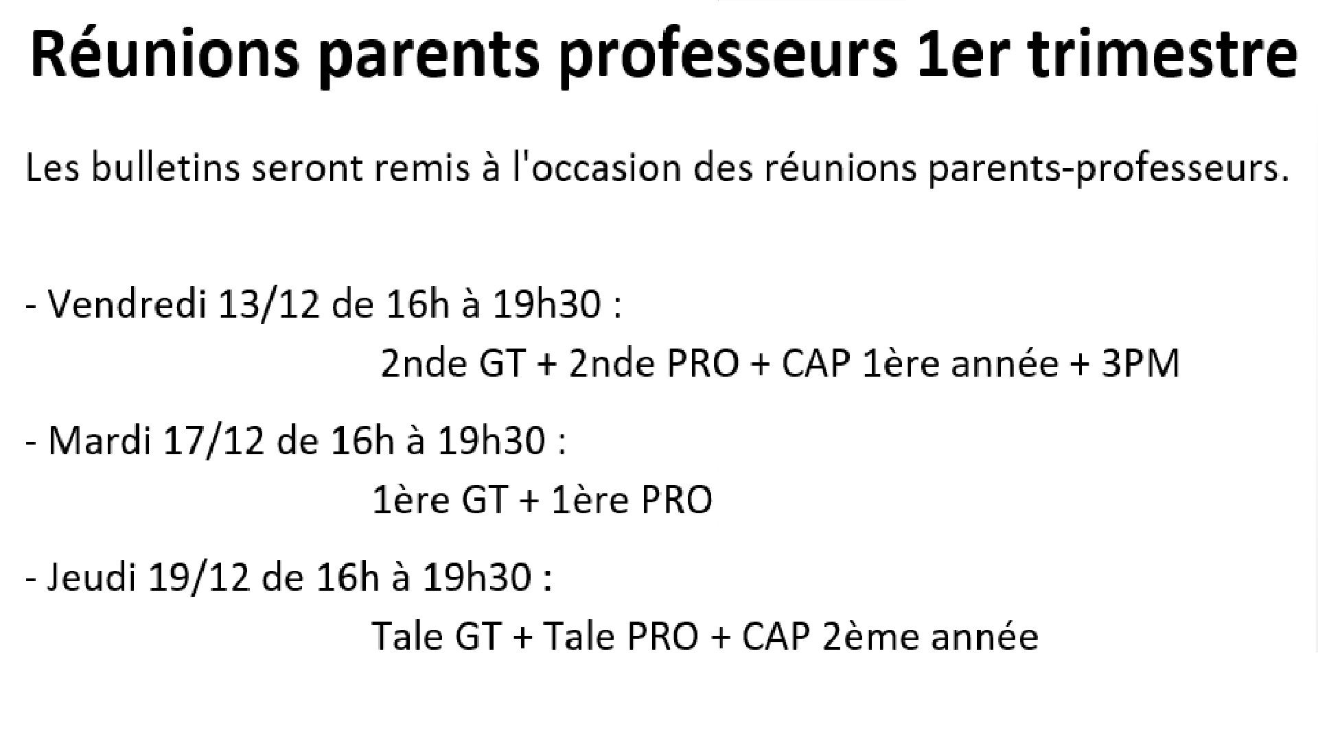 Réunion parents profs
